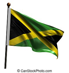 Flag of Jamaica. High resolution 3d render isolated on white with fabric texture.