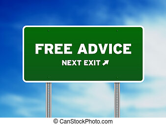 Free Advice Highway Sign - High resolution graphic of a Free...