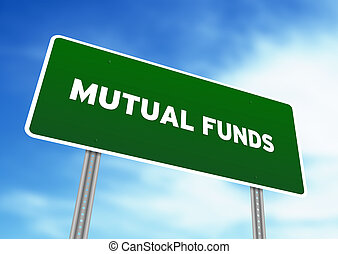 Mutual Funds Highway Sign - High resolution graphic of a...