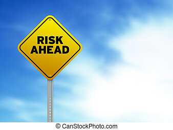 High resolution graphic of a yellow Risk Ahead Road Sign on Cloud Background.