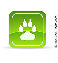 High resolution Green Animal Paw Icon on white background.