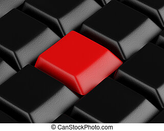 High resolution image. 3d rendered illustration. Black keyboard with red button.