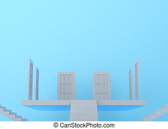 White ladder and door
