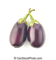 Purple Eggplant on White Background
