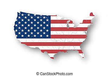 High resolution map of the USA with american flag. Rivers and lakes are shown.