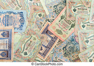 High resolution photo of very old Russian banknotes (1898-1909)