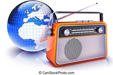 radio - high resolution rendering of a radio in front of a ...