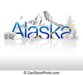 """High resolutions """"Alaska"""" illustration with mountain background and polar bears."""