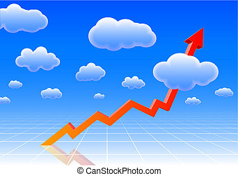 Arrow graph showing results so high, it reaches the sky