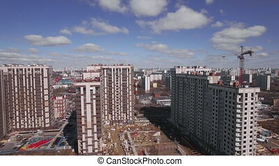 High rise apartment blocks under construction and Moscow ...