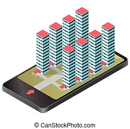 High-rise apartment isometric building in mobile phone. Housing development project, modern hospital complex.