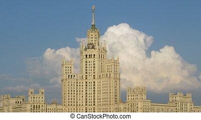 high-rise building at Kotelnicheskaya Embankment and cloud...