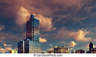 High rise building at sunset time lapse 4K - Modern high...