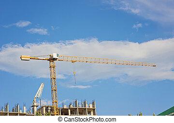 High-rise building construction site