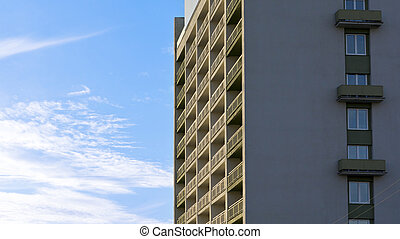 High-rise building in blue sky