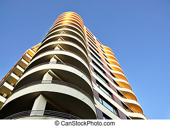 High-rise building on blue sky background