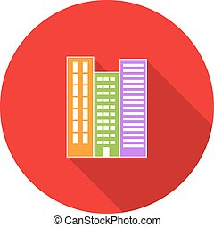 High-rise building residential apartments. Property For Sale. Vector illustration.