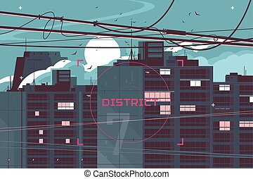High-rise building vector illustration. Big structure located in seven district. Many people still awake in big modern apartments flat style concept. City landscape