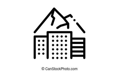 high-rise buildings among mountains Icon Animation. black high-rise buildings among mountains animated icon on white background