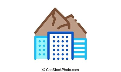 high-rise buildings among mountains Icon Animation. color high-rise buildings among mountains animated icon on white background