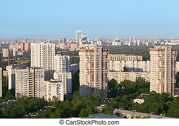 High-rise buildings at sunny morning in Moscow, Russia;...