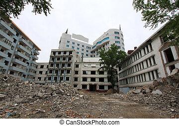 high rise buildings demolition site