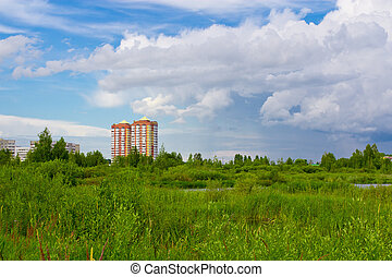High-rise buildings in an outdoor