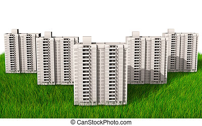 high-rise buildings of same design over green hills 3d render