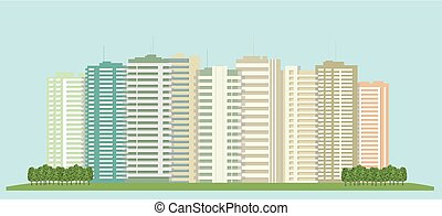 High-rise buildings of the city and a green field..eps