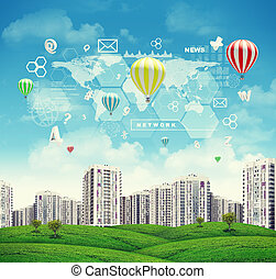 High-rise buildings over green hills, few air baloons above. Charts, diagrams and other virtual items in sky