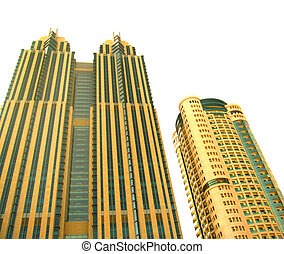 High-rise buildings over white background