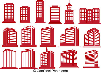 Vector illustration of the modern high rise buildings in various perspective views and designs