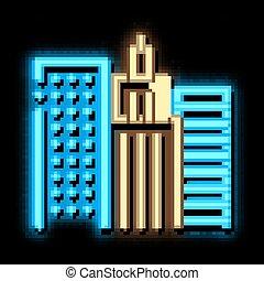 High-Rise Buildings View neon light sign vector. Glowing bright icon High-Rise Buildings View sign. transparent symbol illustration