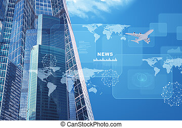 High-rise buildings with jet and charts