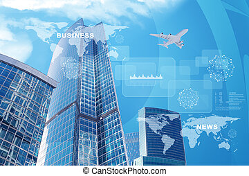 High-rise buildings with jet and graph