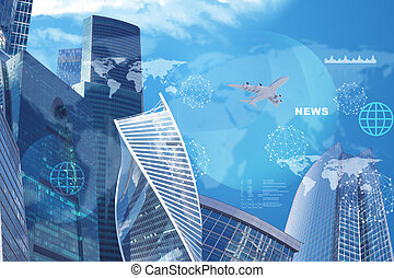 High-rise buildings with jet and news word