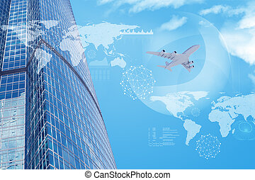 High-rise buildings with jet and world map