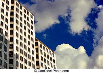 high-rise, clouds