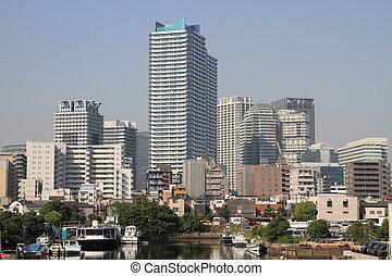 high-rise, condomínio, em, yokohama