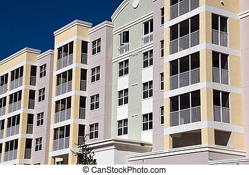 High Rise Condos - High contrast multi colored high rise ...
