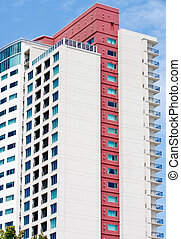 High Rise Condos with Red Trim