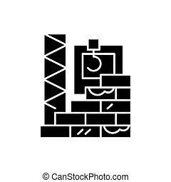 High-rise construction black icon, vector sign on isolated...
