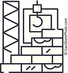High rise construction line icon concept. High rise...