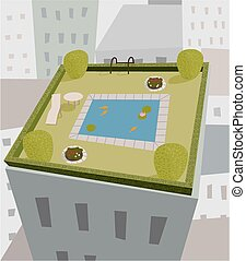 High rise garden - A little square garden with pond on top...