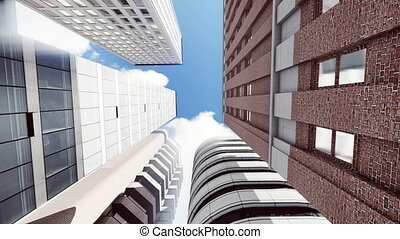 High rise office buildings against blue sky 4K