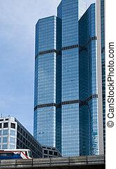 high-rise, predios, e, céu-trem, em, bangkok