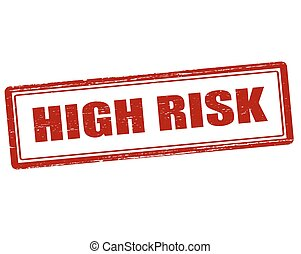 High risk - Rubber stamp with text high risk inside, vector...