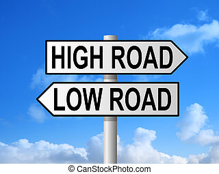 High Road Low Road Signpost