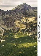 High rocky peak Popradske pleso valley in High Tatra Mountains, Slovakia, Europe