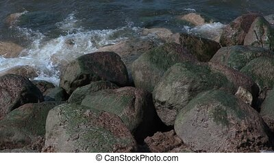 High rocky shore by the sea